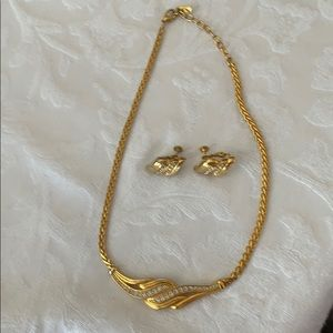 Gold tone rhinestone necklace and earrings
